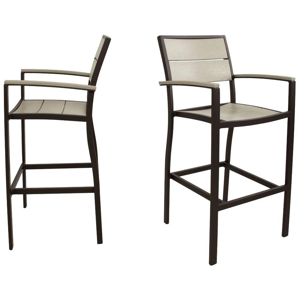 Trex Outdoor Furniture Surf City Textured Bronze 2-Piece Patio Bar Chair Set with Sand Castle Slats