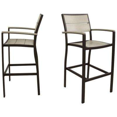 Surf City Textured Bronze 2-Piece Patio Bar Chair Set with Sand Castle Slats