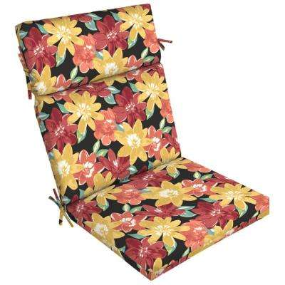 21 in. x 44 in. Ruby Abella Floral Outdoor Dining Chair Cushion