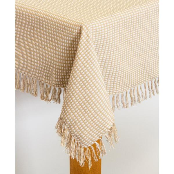 Homespun Fringed 70 in. Round Ecru 100% Cotton Tablecloth