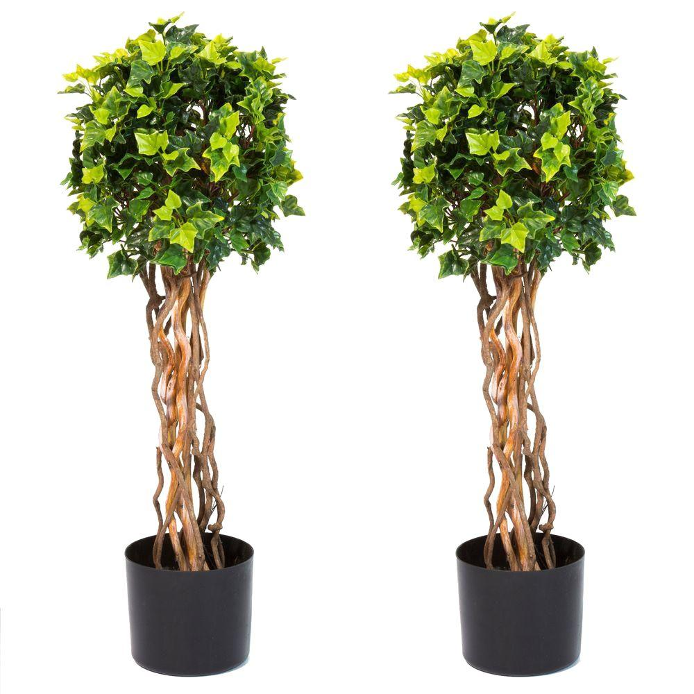 English Ivy Single Ball Topiary Tree 2 Pack