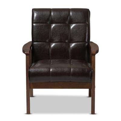 Masterpiece Mid-Century Dark Brown Faux Leather Upholstered Chair
