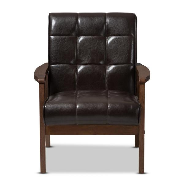 Baxton Studio Masterpiece Mid-Century Dark Brown Faux Leather Upholstered Chair