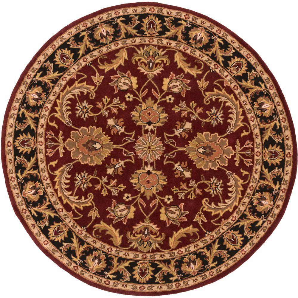 artistic weavers middleton virginia burgundy 8 ft x 8 ft round indoor area rug awoc2001 8rd. Black Bedroom Furniture Sets. Home Design Ideas