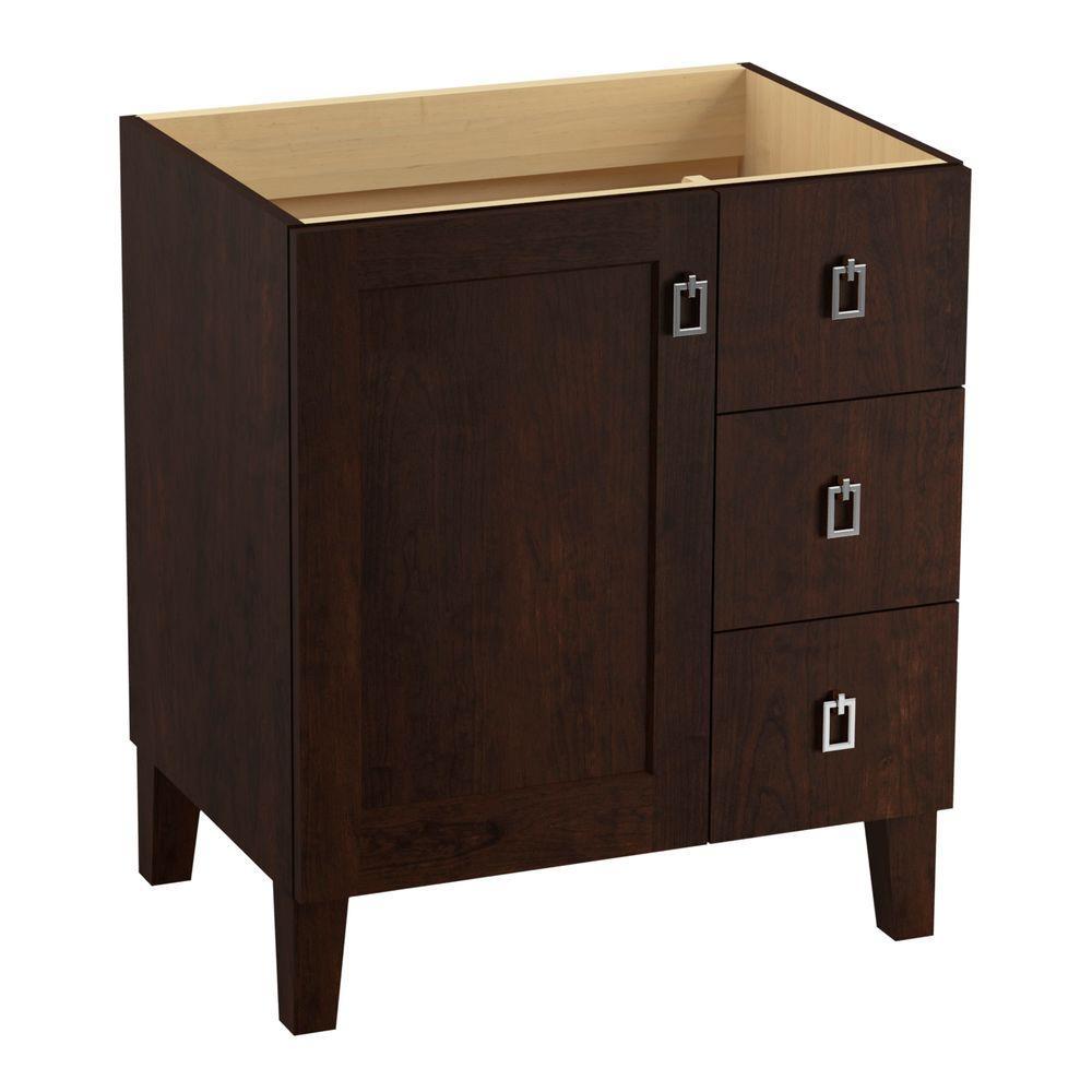 Poplin 30 in. Vanity Cabinet in Claret Suede