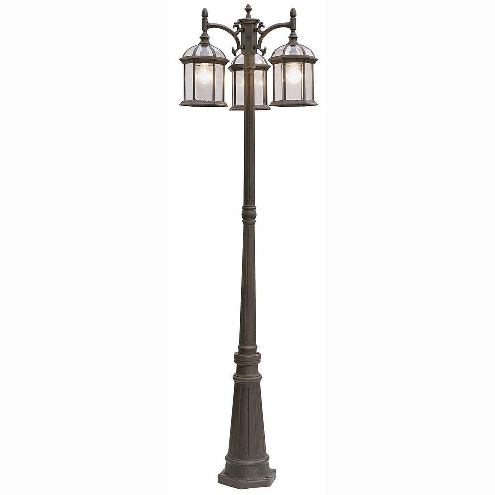 Atrium 3-Light Outdoor Rust Lamp Post Lantern with Clear Glass