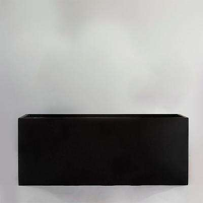 12 in. x 24 in. Black Fiberglass Rectangle Planter