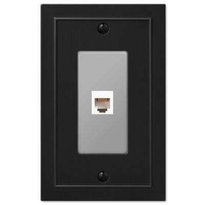 Bethany 1 Gang Phone Metal Wall Plate - Black
