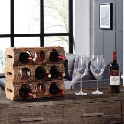 Stackable Acacia Wood 3-Bottle Wine Holder Log with Bark