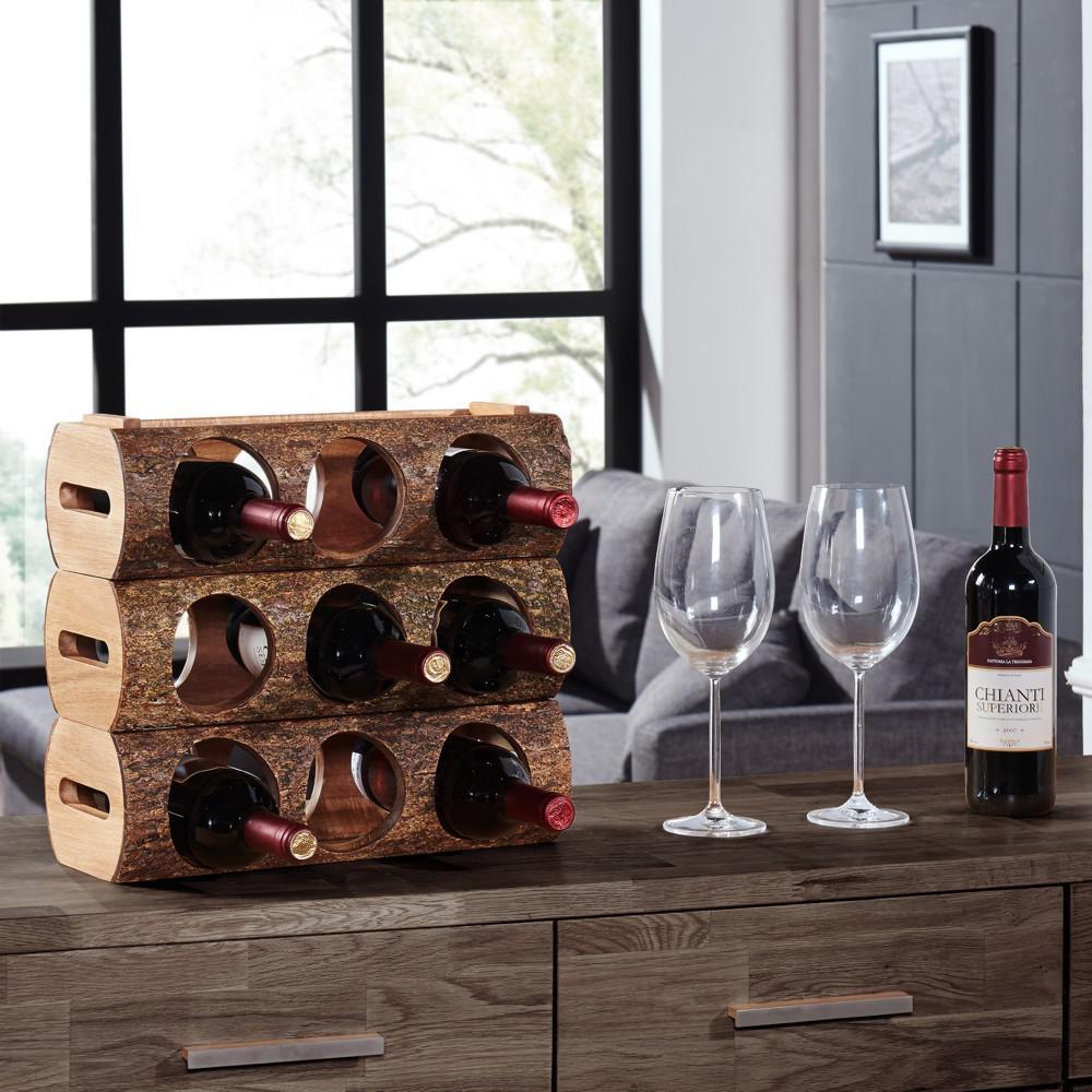 Stackable Acacia Wood 3-Bottle Wine Holder Log with Bark