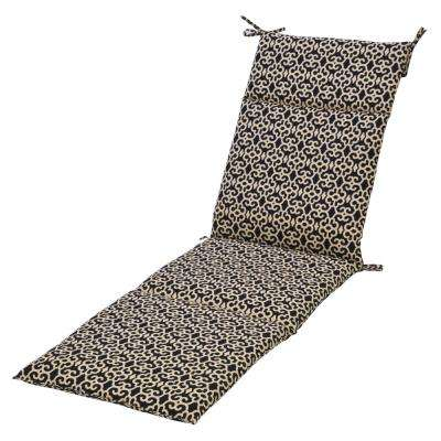 Black Trellis Outdoor Chaise Lounge Cushion