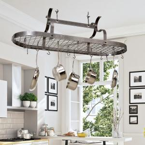 Enclume Hammered Steel Hanging Scroll Arm Ceiling Pot Rack by Enclume