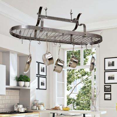 Handcrafted Scroll Arm Oval Ceiling Pot Rack with 24 Hooks Hammered Steel