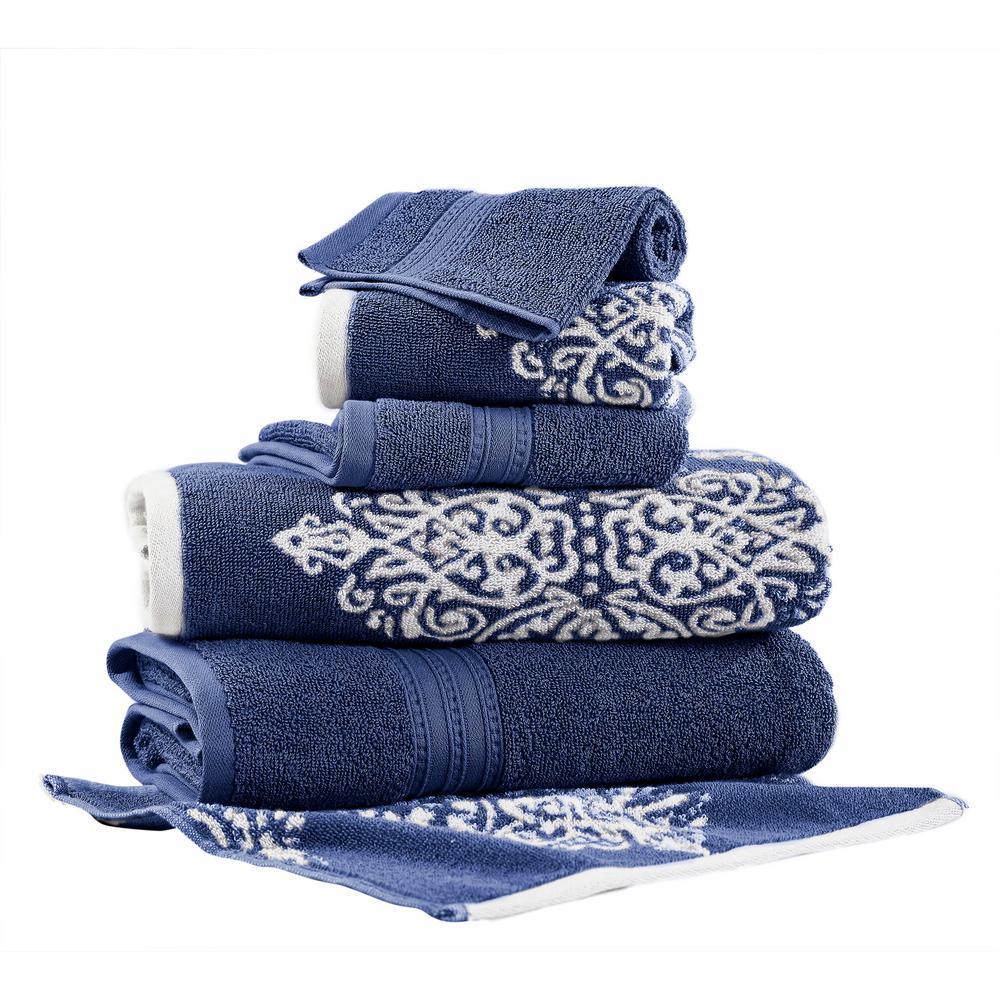 Artesia Damask 6-Piece Cotton Bath Towel Set in Indigo