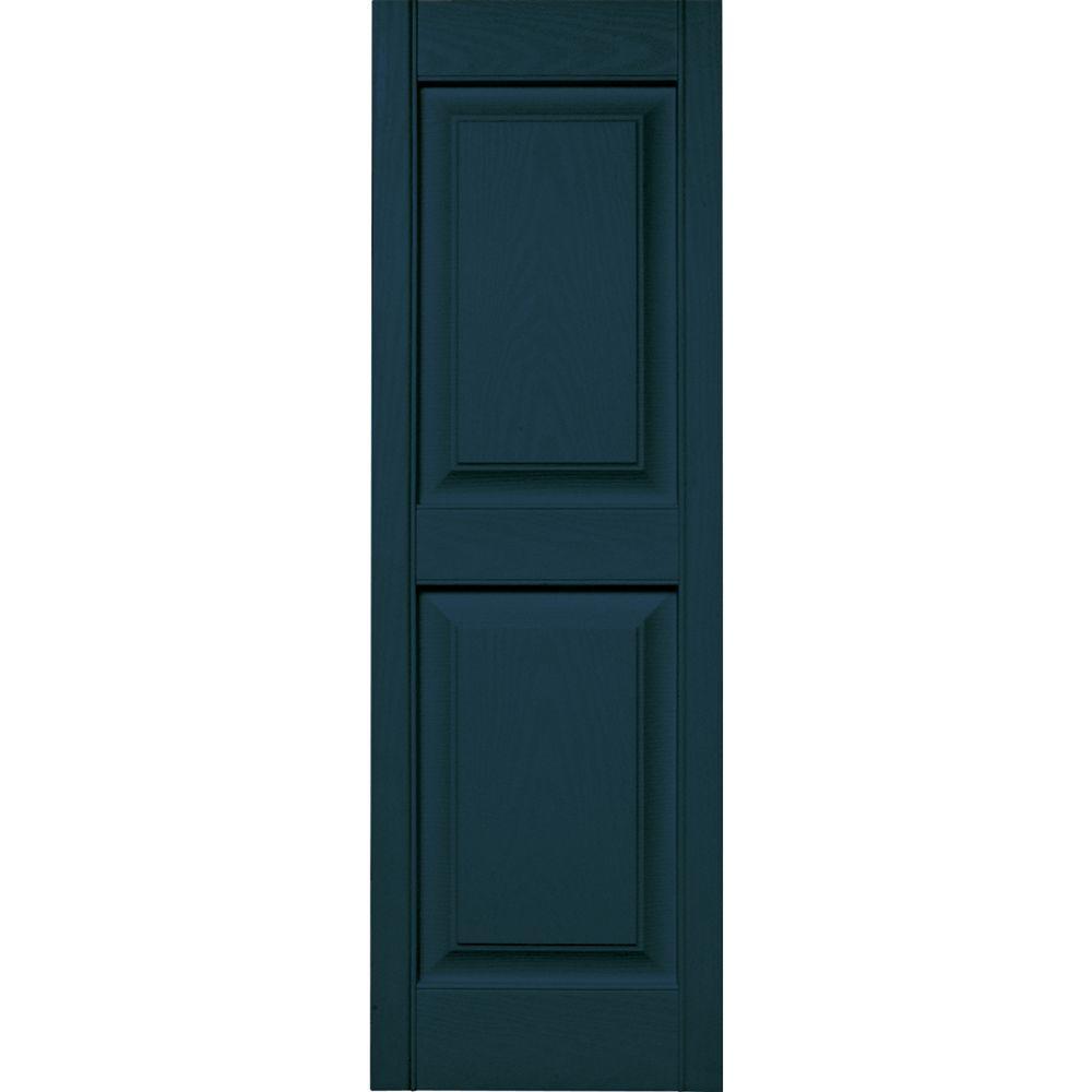Builders Edge 15 in. x 47 in. Raised Panel Vinyl Exterior Shutters Pair in #166 Midnight Blue