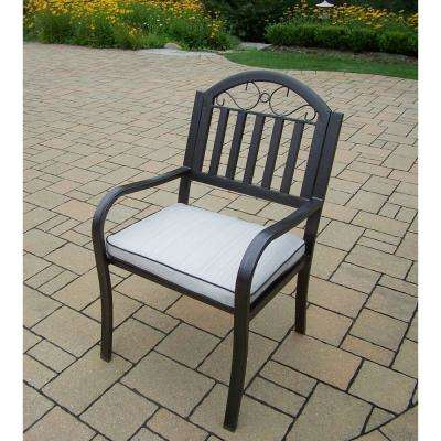 Rochester Aluminum Outdoor Dining Chair with Oatmeal Cushion