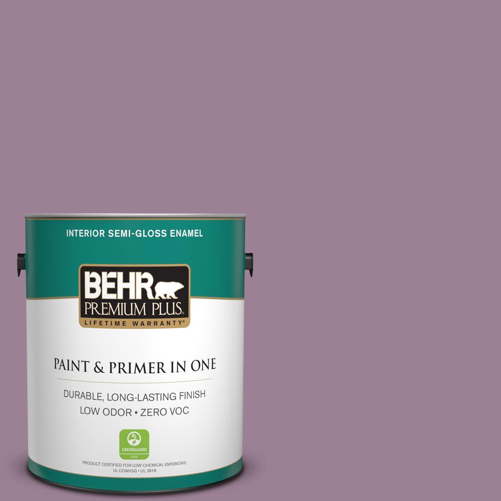 BEHR Premium Plus 1-gal. #S110-5 Garden Plum Semi-Gloss Enamel Interior Paint