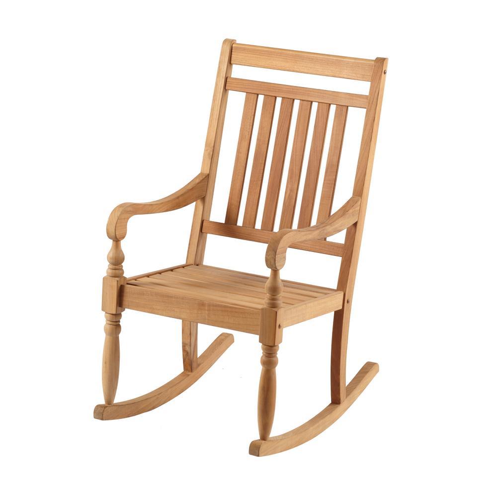 Hampton Bay Teak Rocking Chair It 130752t The Home Depot