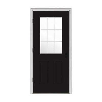 32 in. x 80 in. 9 Lite Black Painted Steel Prehung Right-Hand Outswing Front Door w/Brickmould