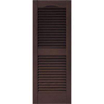15 in. x 39 in. Louvered Vinyl Exterior Shutters Pair in #009 Federal Brown