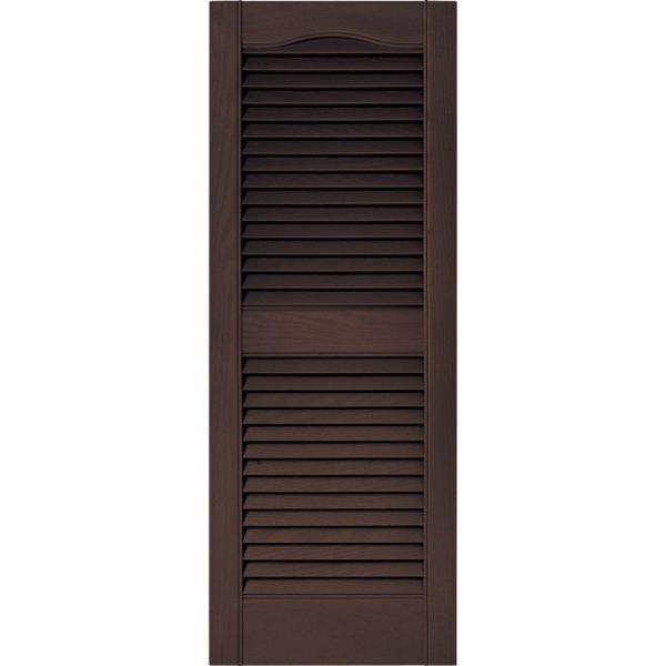 Builders Edge 15 In X 39 In Louvered Vinyl Exterior Shutters Pair In 009 Federal Brown 010140039009 The Home Depot