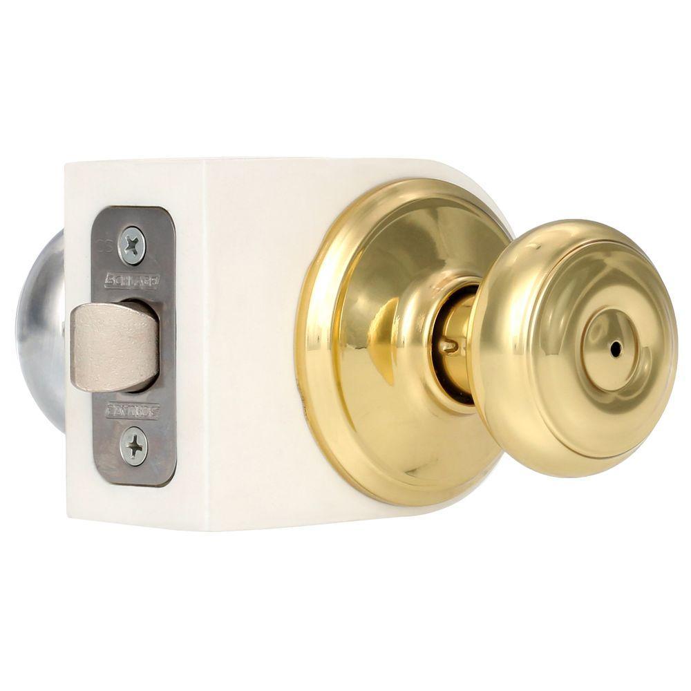 Georgian Bright Brass/Bright Chrome Privacy Bed/Bath Door Knob