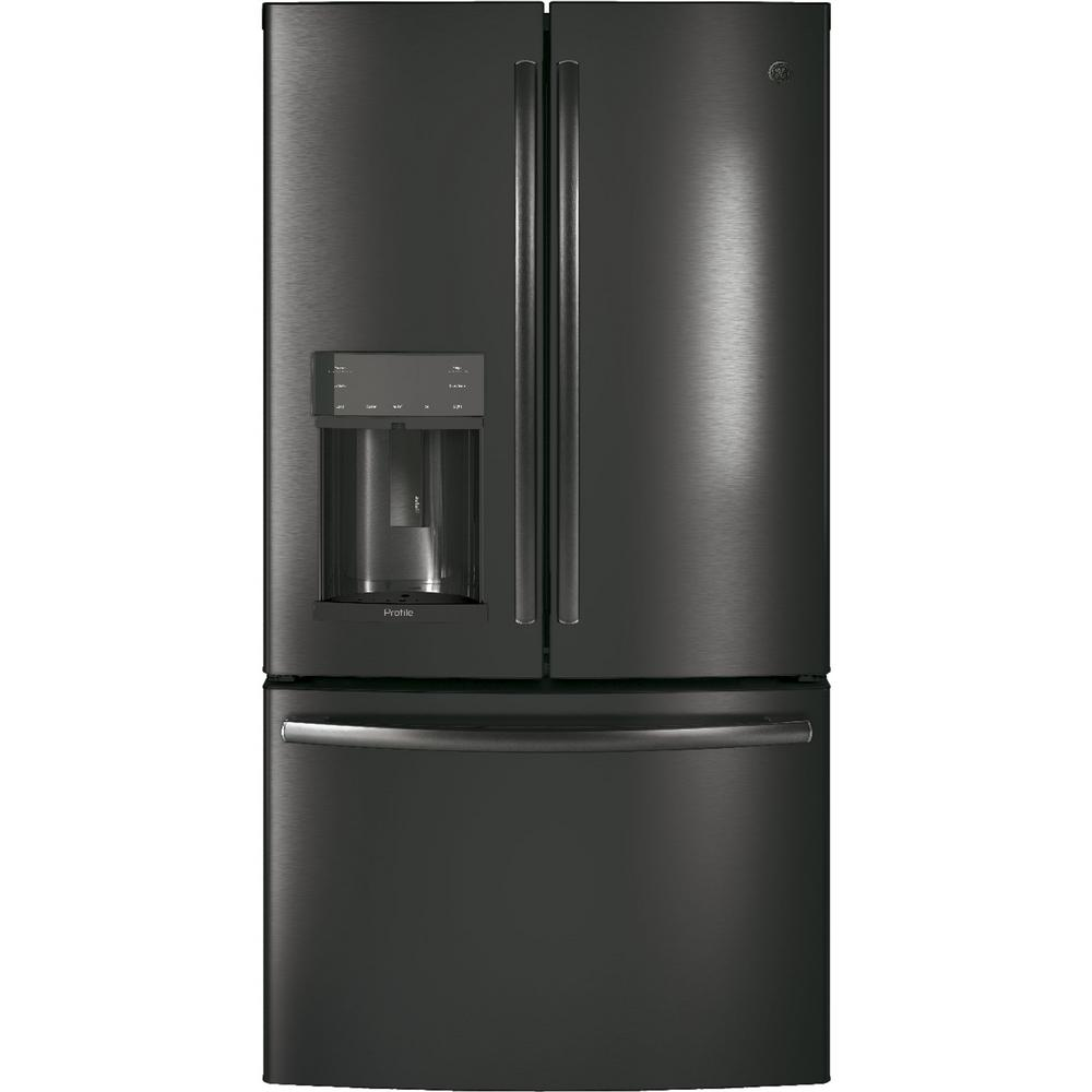 Profile 36 in. 27.8 cu. ft. French-Door Refrigerator in Black Stainless