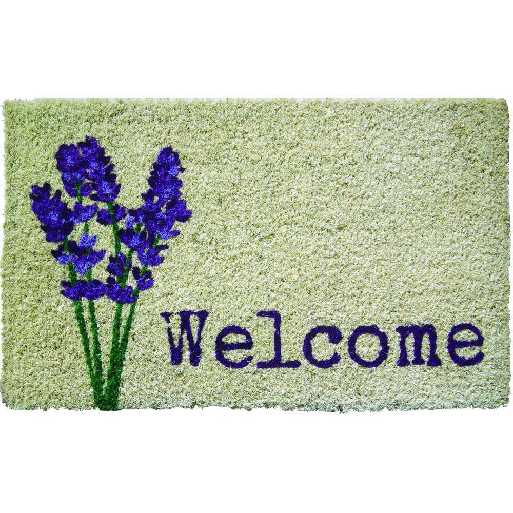 Lavender Welcome 18 in. x 30 in. Hand Woven Coconut Fiber Door Mat
