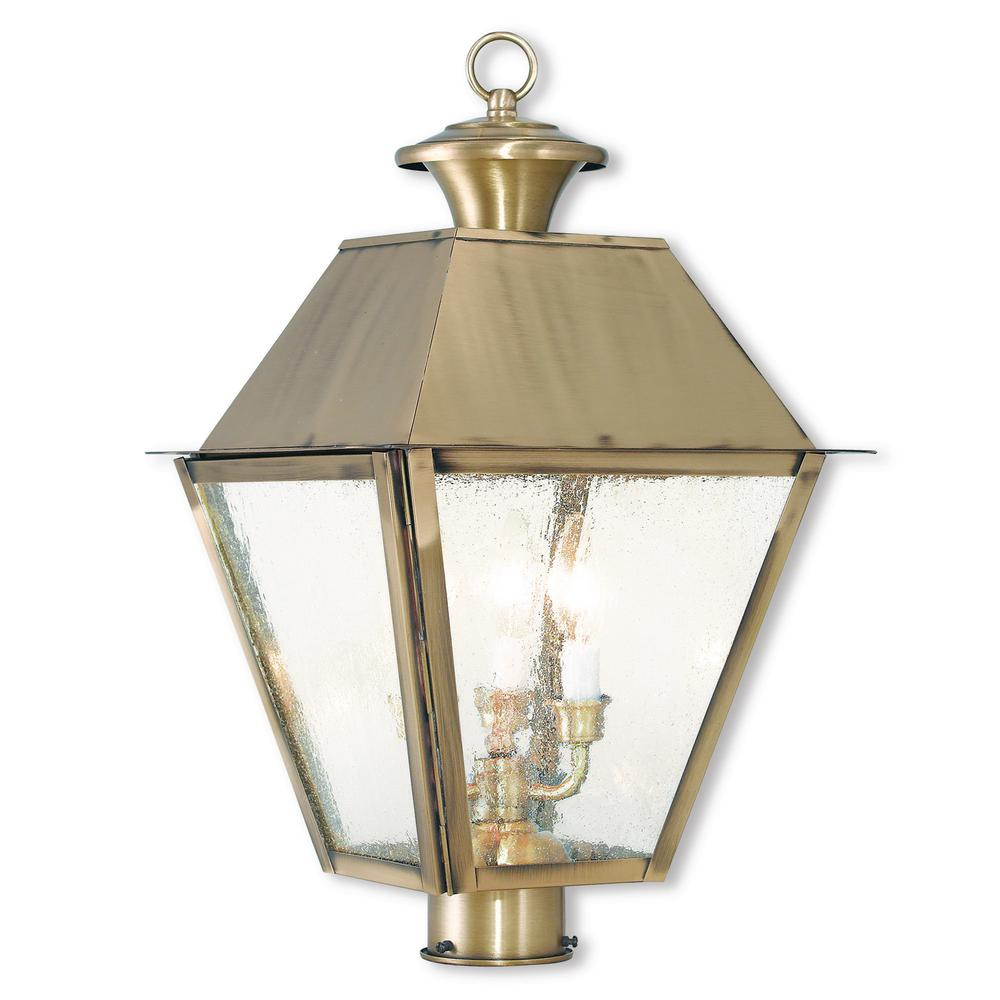 Livex Lighting Mansfield 3 Light Outdoor Antique Brass Post Light