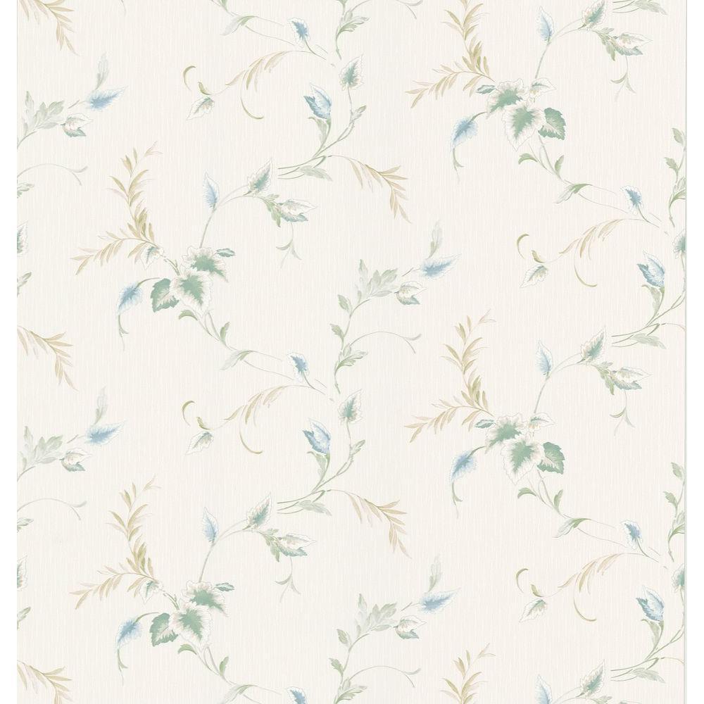 Bath Bath Bath III White Textured Leaf Wallpaper Sample