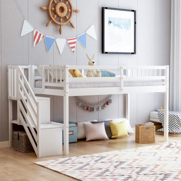 White Twin Size Floor Loft Bed with Storage Stairs