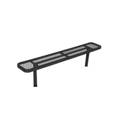 Surface Mount 8 ft. Black Diamond Commercial Park Bench without Back