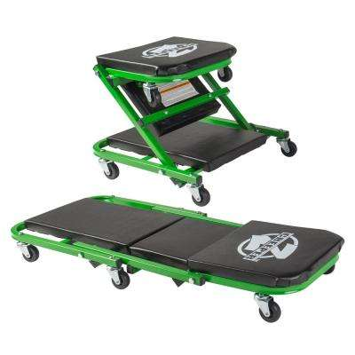 Z Creeper Black/Green 2-in-1 Creeper and Seat 36 in. with 6-Casters and 300 lbs. Capacity