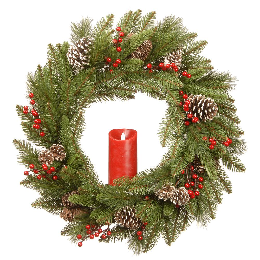 24 in. Feel Real Bristle Berry Wreath with Red Electronic Candle,