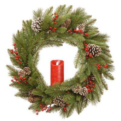 24 in. Feel Real Bristle Berry Wreath with Red Electronic Candle, Red Berries and Cones