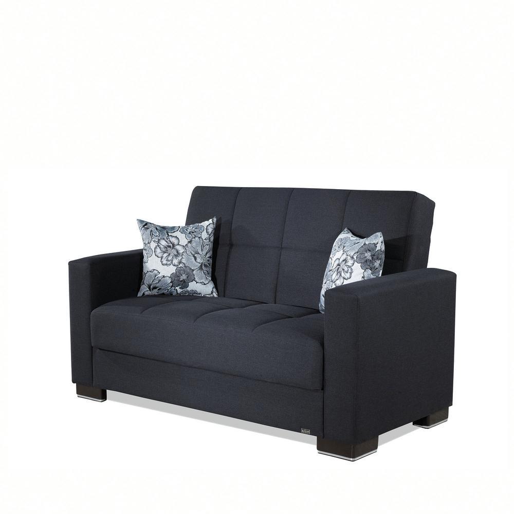 Armada Dark Blue Fabric Upholstery Love Seat with Storage