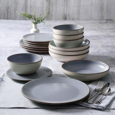 Contempo Classic 16-Piece Round Light Blue Terracotta Dinnerware Set (Service for 4)