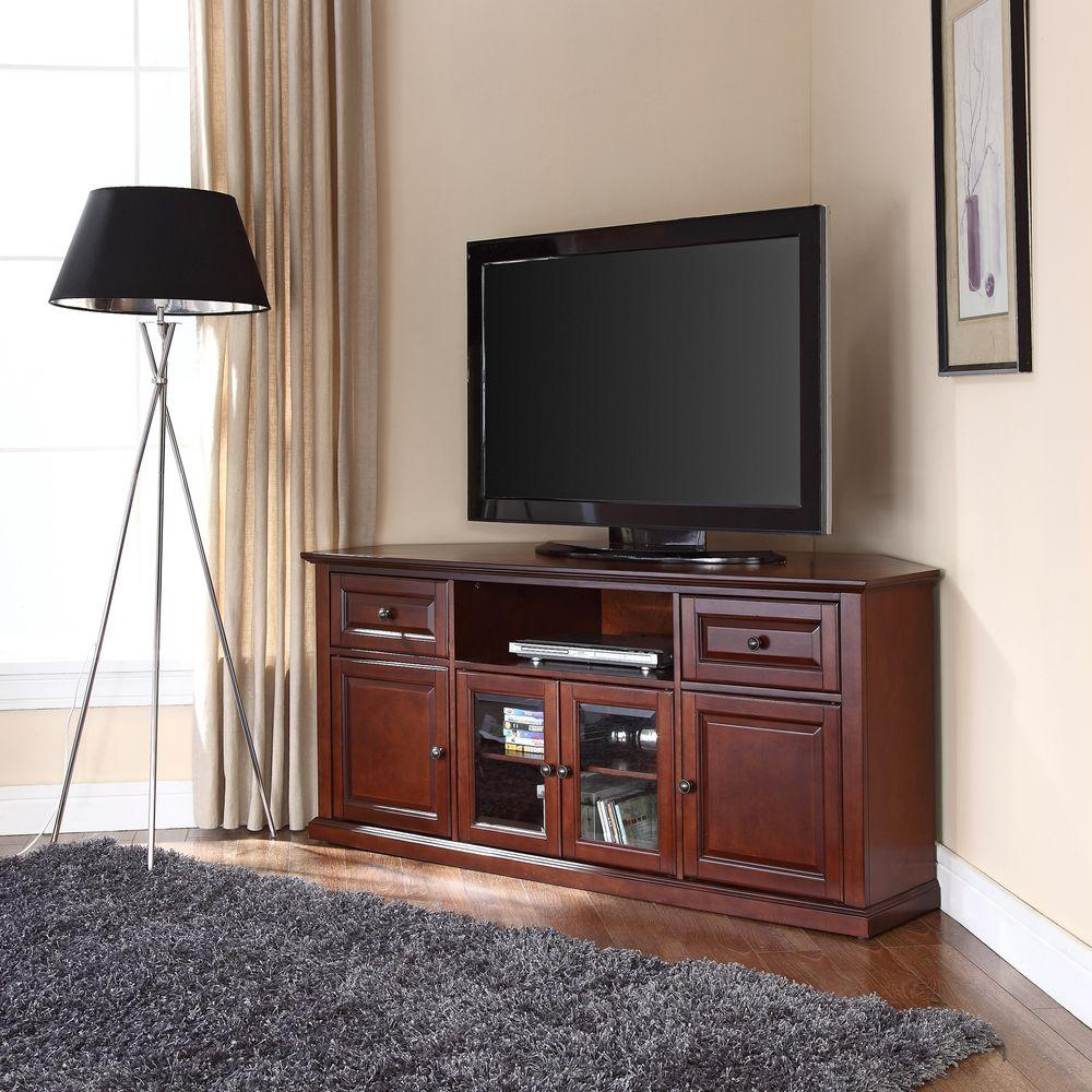 Crosley Mahogany Entertainment Center Cf1000260 Ma The Home Depot