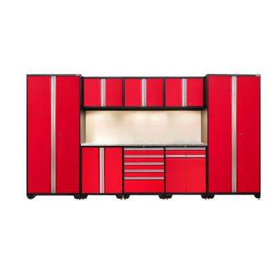 Pro 3.0 85 in. H x 156 in. W x 24 in. D 18-Gauge Welded Steel Stainless Steel Worktop Cabinet Set in Red (9-Piece)