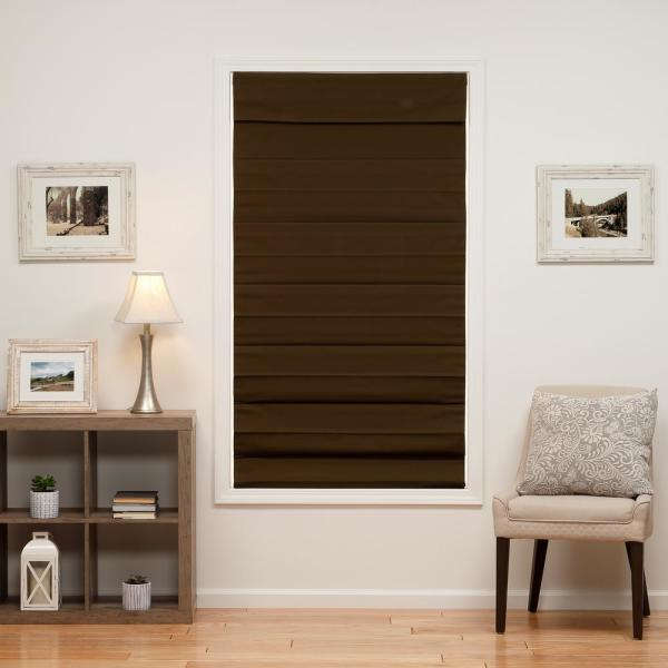 Perfect Lift Window Treatment Chocolate Cordless Blackout Energy Efficient Cotton Roman Shades 50 In W X 72 In L 3qcc500720 The Home Depot