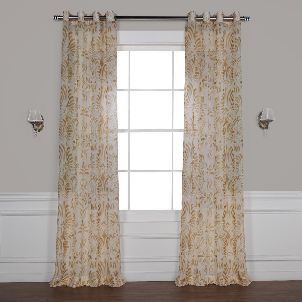 Xenia Tan Grommet Printed Sheer Curtain - 50 in. W x 108 in. L