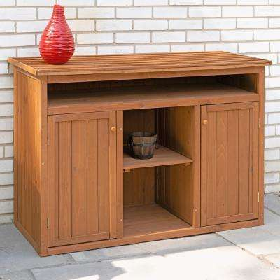 50 in. W x 23 in. D x 36 in. H Medium Brown Cypress Short Display and Hideaway Storage Shed Cabinet