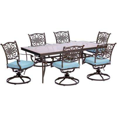 Traditions 7-Piece Aluminum Outdoor Dining Set with Rectangular Glass Table and Swivel Chairs with Blue Cushions