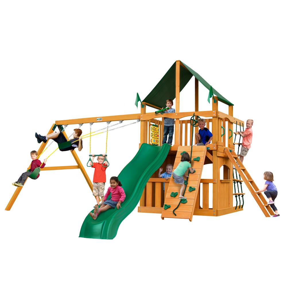 Gorilla Playsets Chateau Clubhouse Wooden Swing Set with Sunbrella® Canvas Canopy and Rock Wall