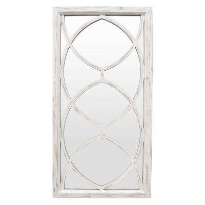 46 in. White Wash in White Wood Wall Mirror