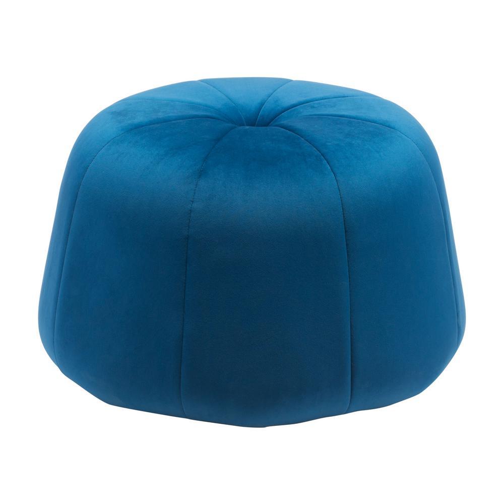 Dulcet Blue Velvet Accent Ottoman