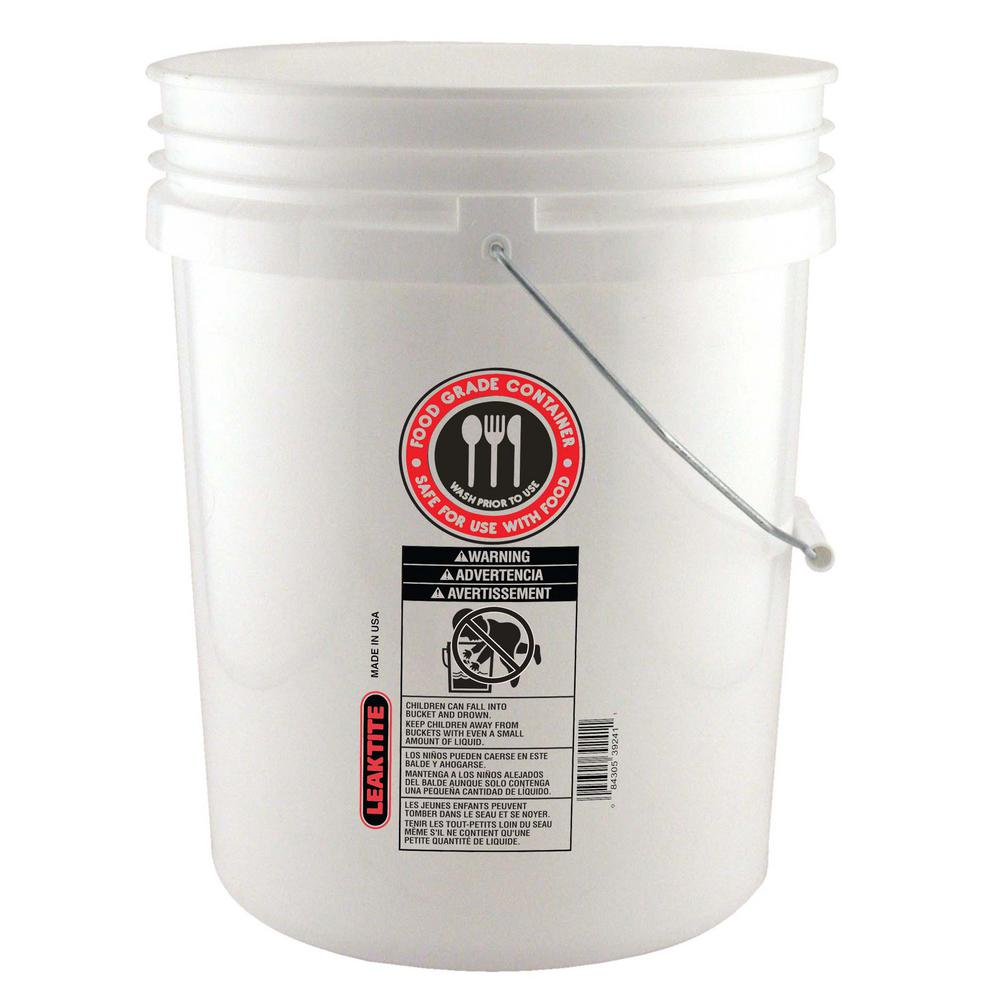 Leaktite 5 Gal 70mil Food Safe Bucket White 005gfswh020 The Home Depot