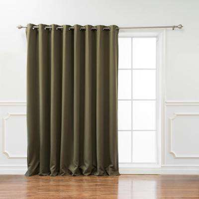 Wide Basic 100 in. W x 108 in. L Blackout Curtain in Olive