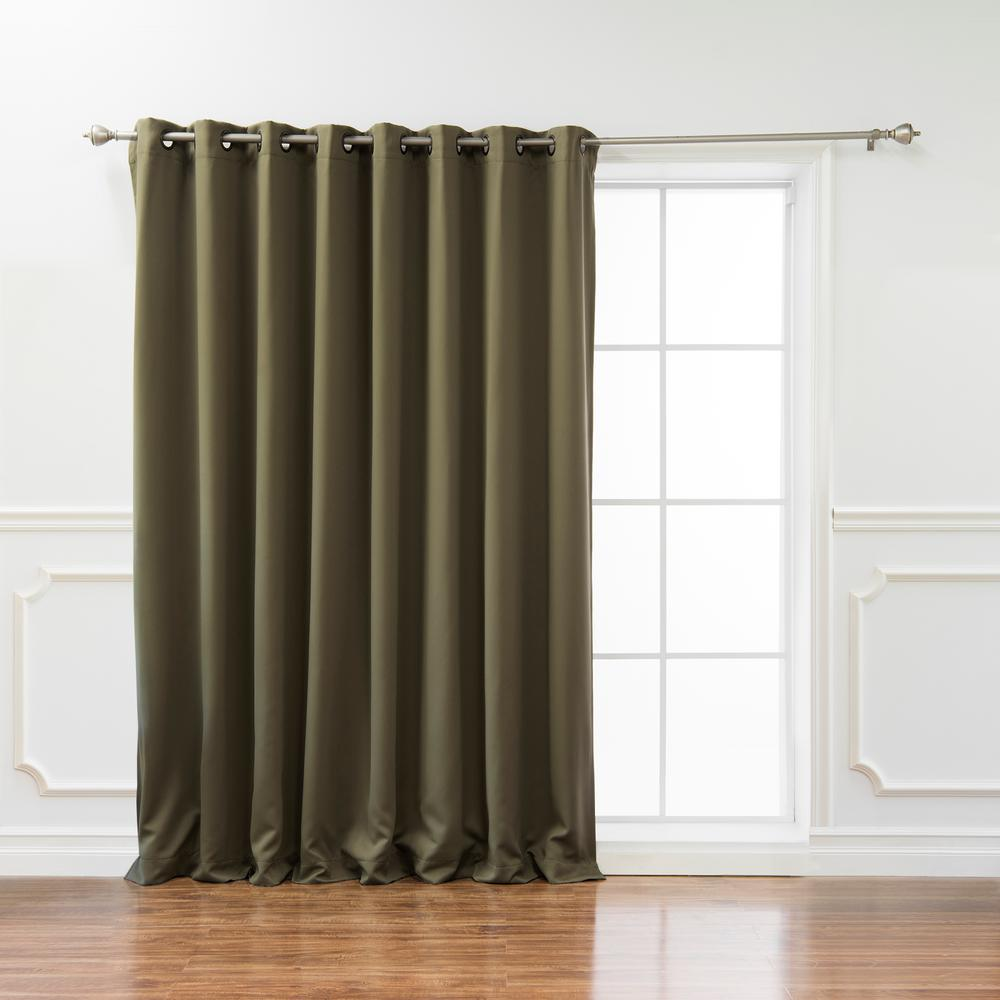 best home fashion wide basic 80 in w x 108 in l blackout curtain in olive grom wide 80x108. Black Bedroom Furniture Sets. Home Design Ideas