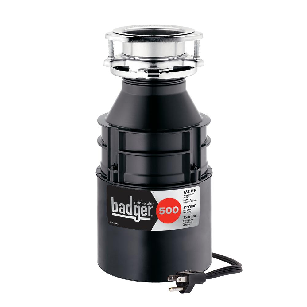 Badger 500 1/2 HP Continuous Feed Garbage Disposal with Power Cord